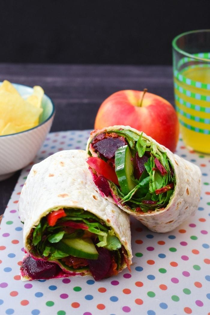 vegan beet and salad wrap