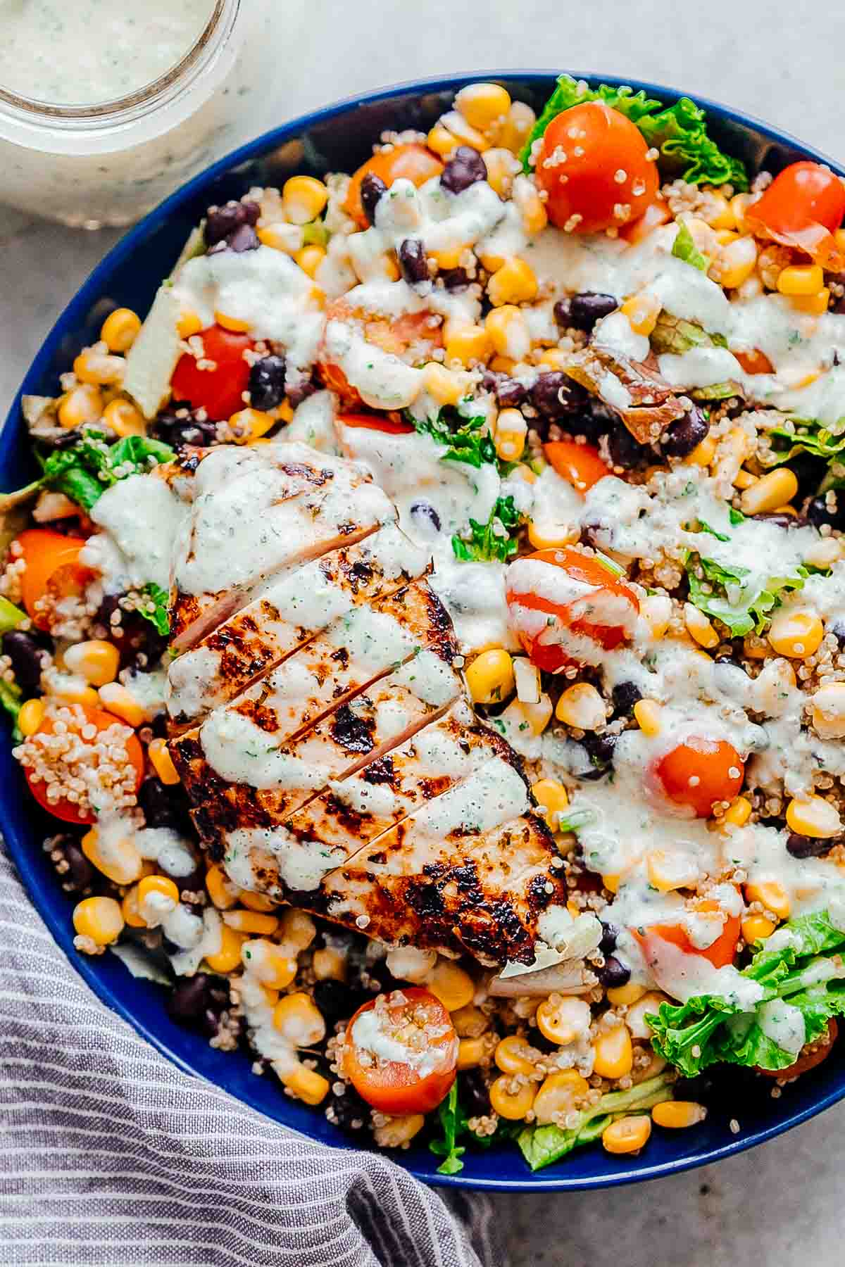 chicken quinoa and bean salad in a bowl