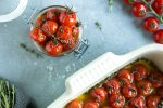 tomato confit in a jar and in a roasting tin