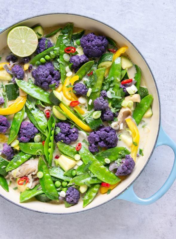 vegan thai green curry in large shallow pot