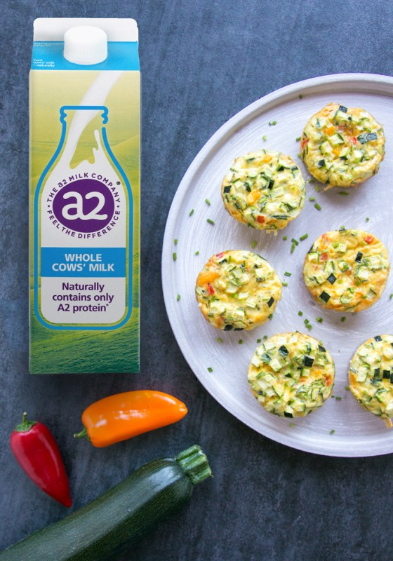 Veggie Omelet Muffins on a grey palte next to a2 milk carton, two small bell peppers and a zucchini