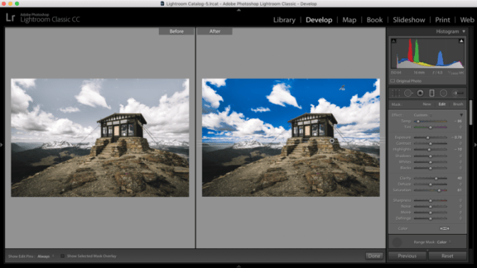 Image of Adobe Lightroom photo editing software