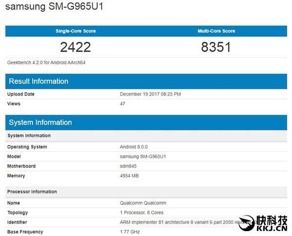 Snapdragon 845 Geekbench Benchmark просочился Samsung