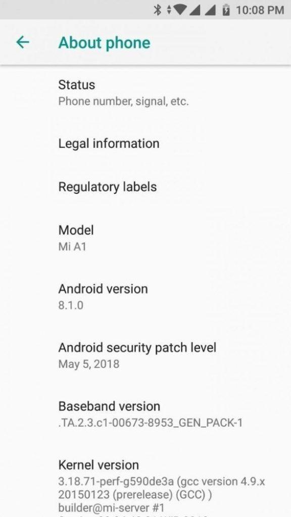 Xiaomi Mi A1 Android 8.1 Beta Firmware Update Screenshot