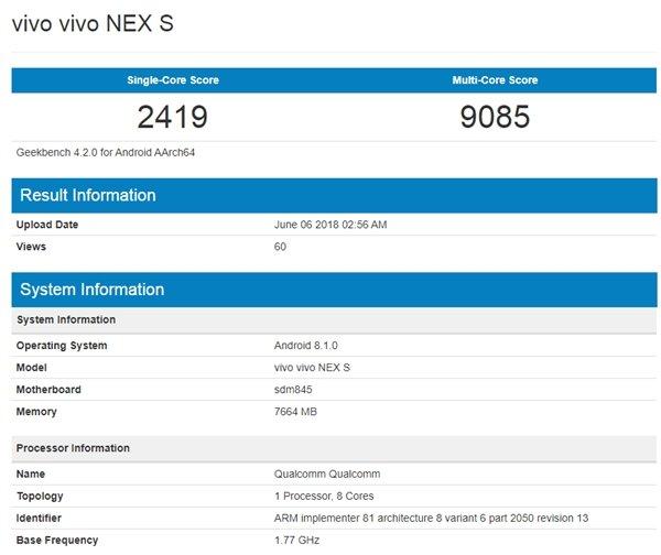 Vivo NEX S GeekBench Score