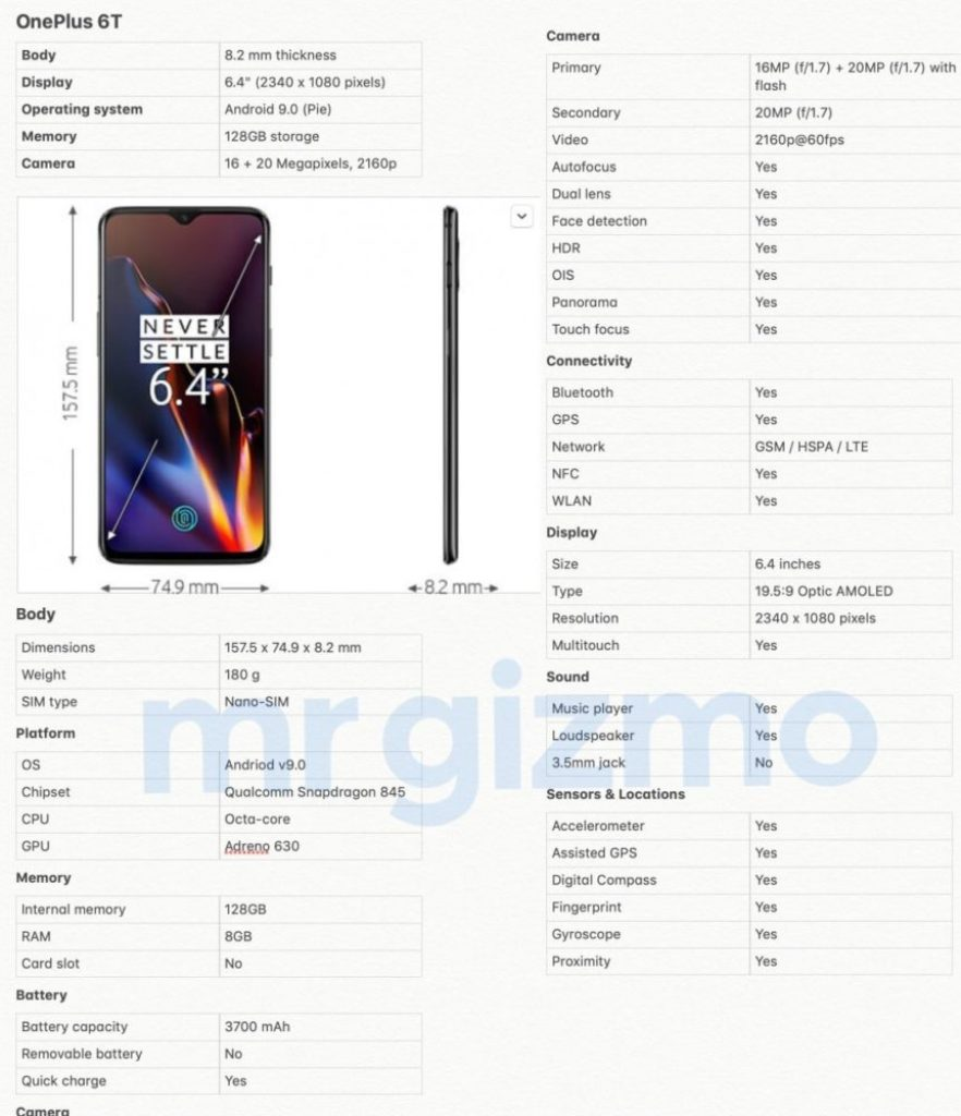 OnePlus 6T Complete Specifications