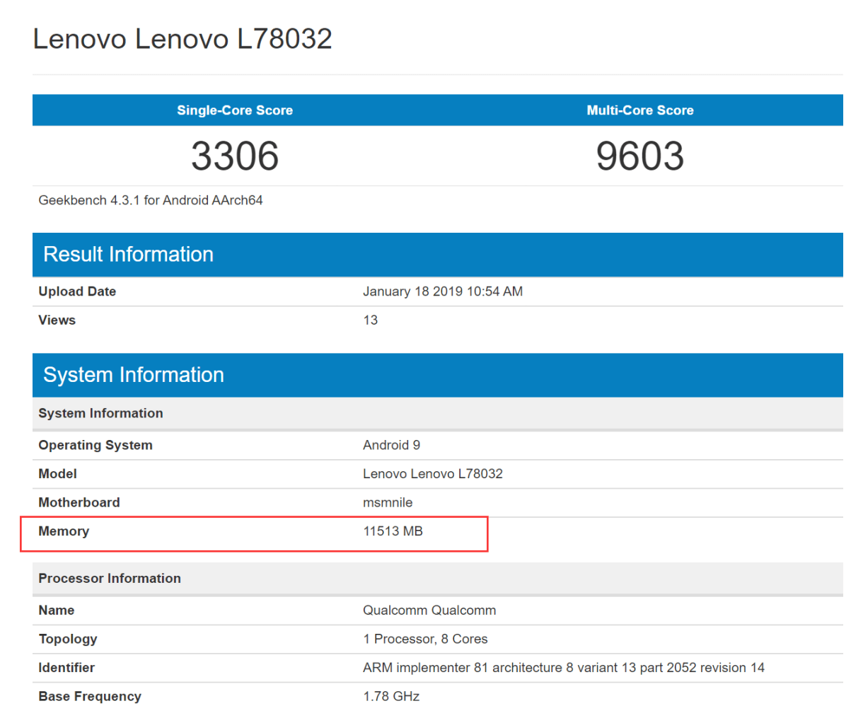 Lenovo Z5 Pro GT Snapdragon 855 Version Geekbench Score Leaked