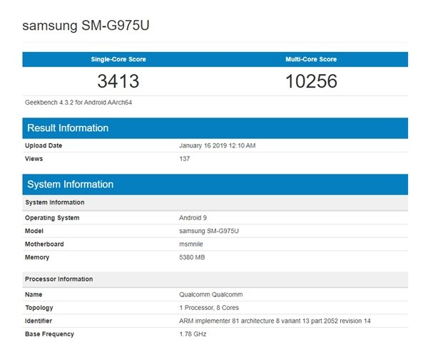 Exynos 9820 Geekbench Score Hits