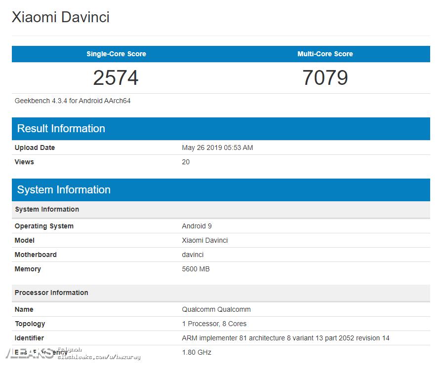 Redmi K20 Geekbench Score Leaked Snapdragon 730 version