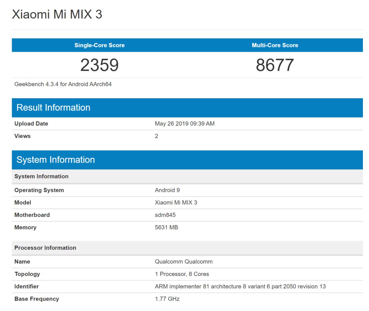 Xiaomi Mi MIX 3 Geekbench Score