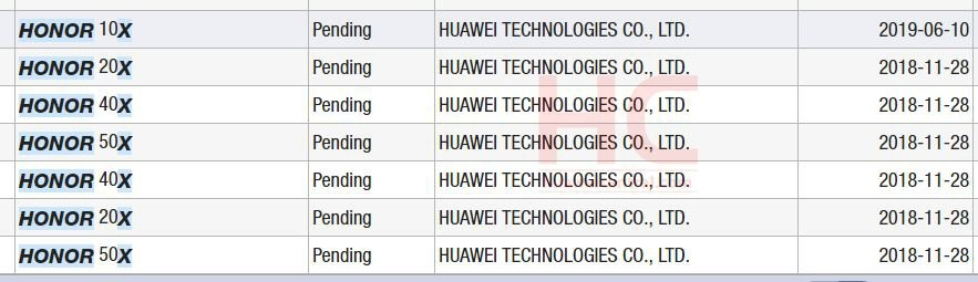 Huawei Trademarks Registering Honor 10X 20X 30X 40X 50X