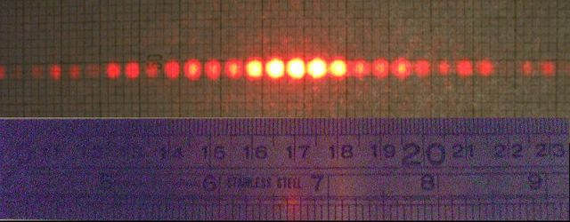 The diffraction pattern from a two-slit experiment