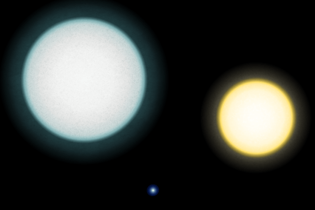 a white dwarf next to two other stars