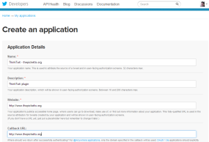 Creating a Twitter application