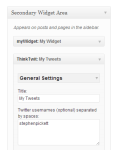 Shows ThinkTwit installed as a widget in WordPress