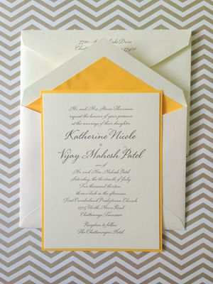Modern Wedding Invitation With Yellow Accent Featured On The Pink Bride Thepinkbride