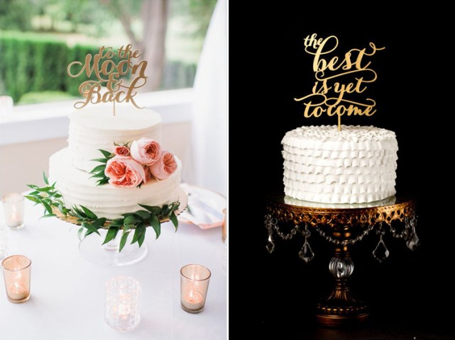 How to Choose the Perfect Wedding Cake Topper   The Pink Bride To The Moon   Back Cake Topper and The Best is Yet to Come Cake Topper