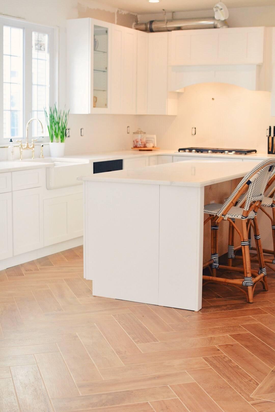 Kitchen Renovation Steps Herringbone Floors White Cabinets