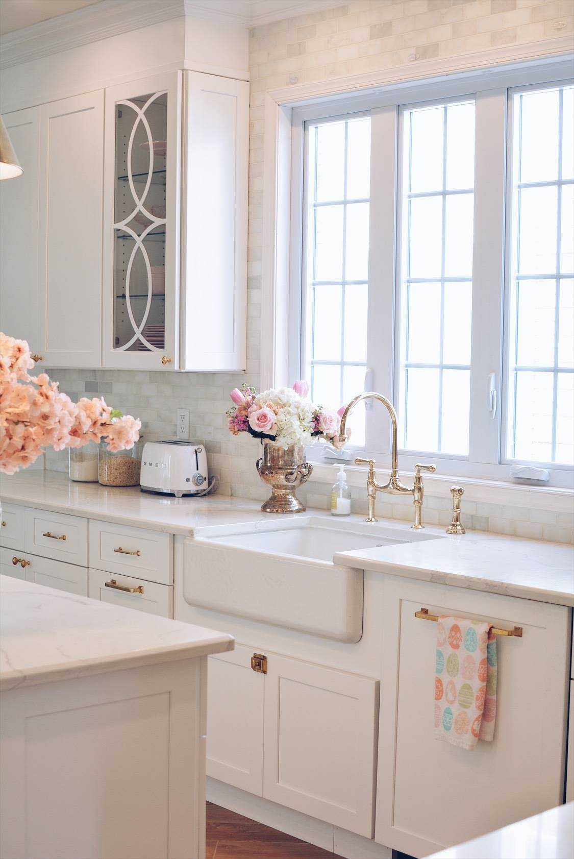 Mullion Cabinet Doors How To Add Overlays To A Glass Kitchen Cabinet The Pink Dream