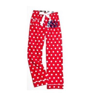 Monogrammed Red Polka Dot Pajama Pants