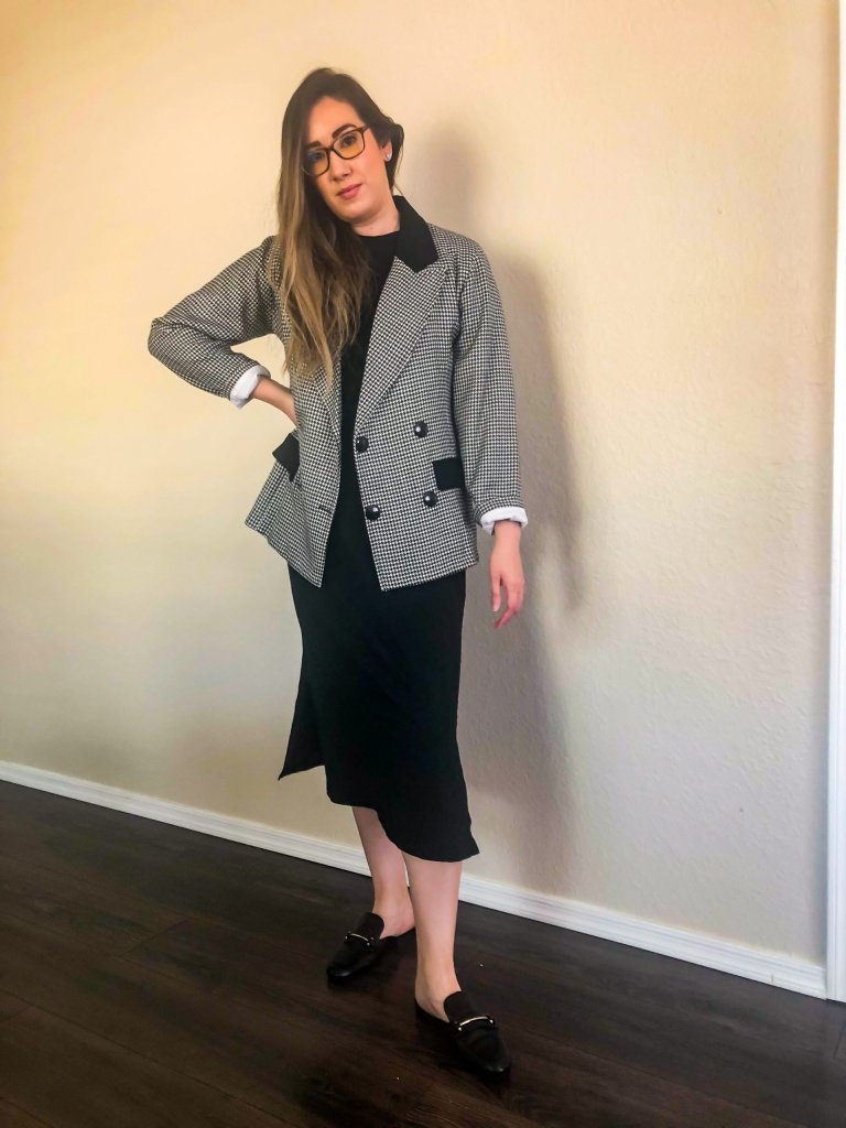 Ready to work from home with a Black dress and comfy shoes