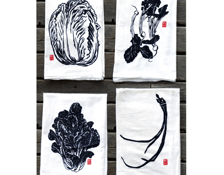 Beautiful tea towels hand silk screened and designed by Rigel Stuhmiller.