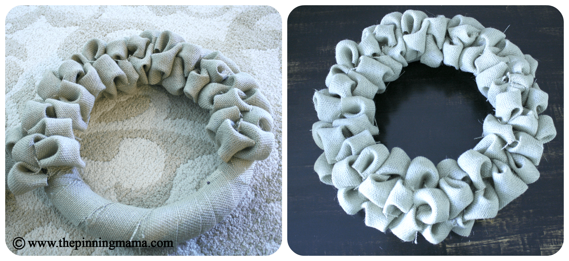 burlap bubble wreath, burlap project, wreath, natural wreath, easy, DIY, tutorial, pin test