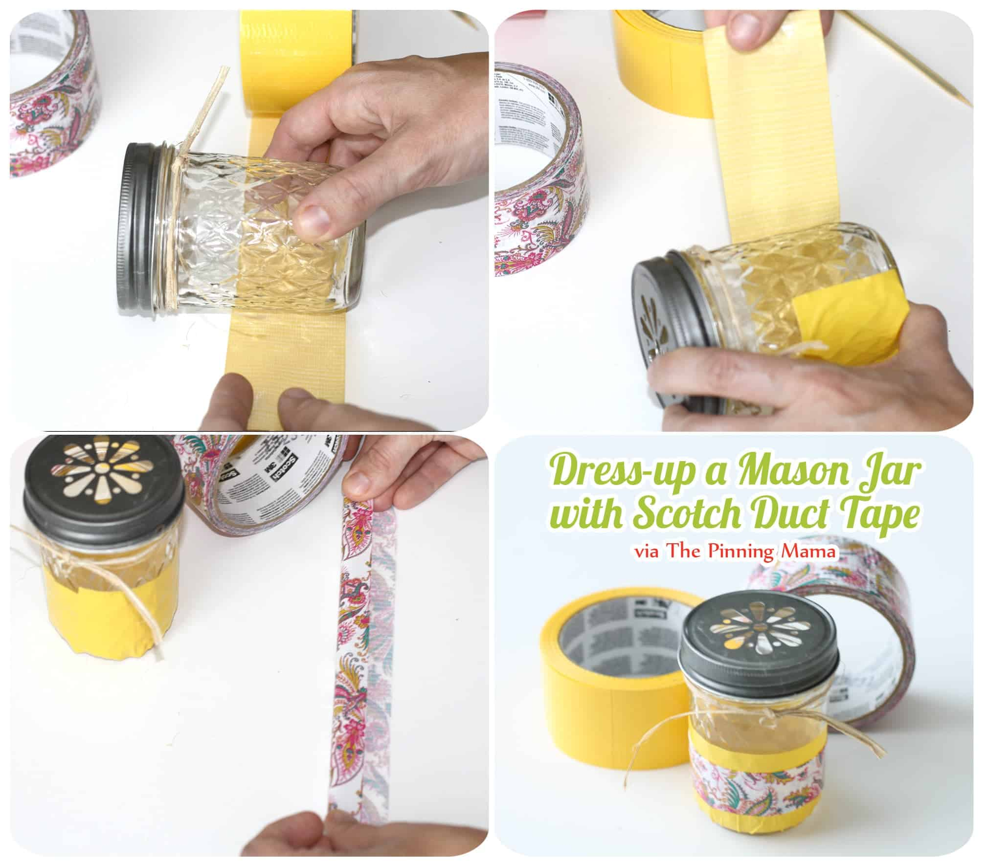 scotch tape diy mason jars www.thepinningmama.com