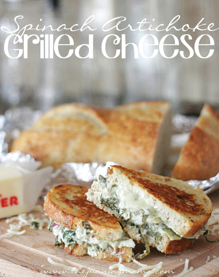 Spinach Artichoke Grilled Cheese | The Pinning Mama