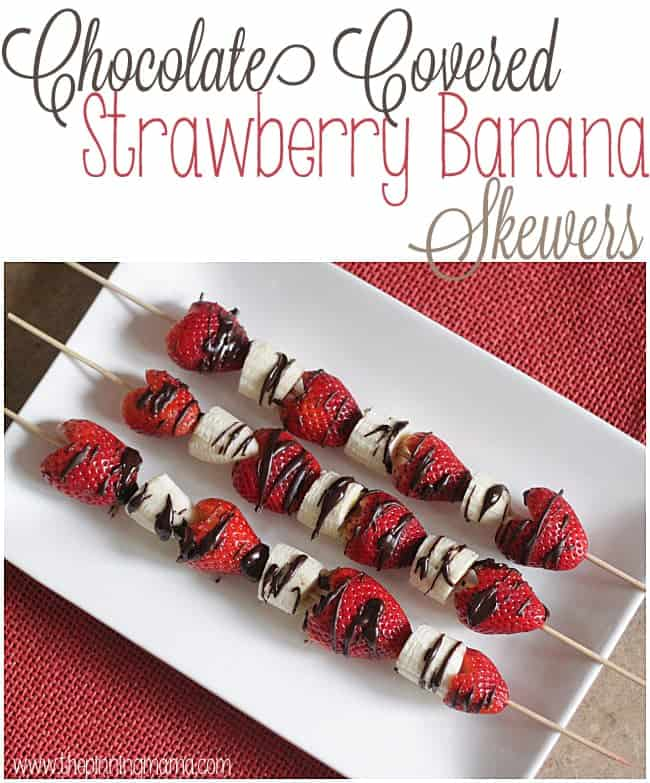 Perfect Light and refreshing dessert for Spring and Summer -- Chocolate Covered Strawberry and Banana Skewers by www.thepinningmama.com