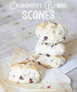 Cranberry Almond Scones - Click here for recipe. So EASY!