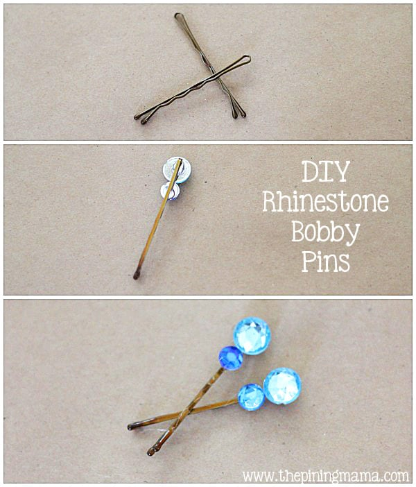 DIY Rhinestone bobby pins plus 12 other easy rhinestone projects!