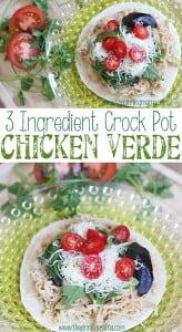 3 Ingredient Crock Pot Chicken Verde - So delicious and SO easy. Easiest weeknight meal!