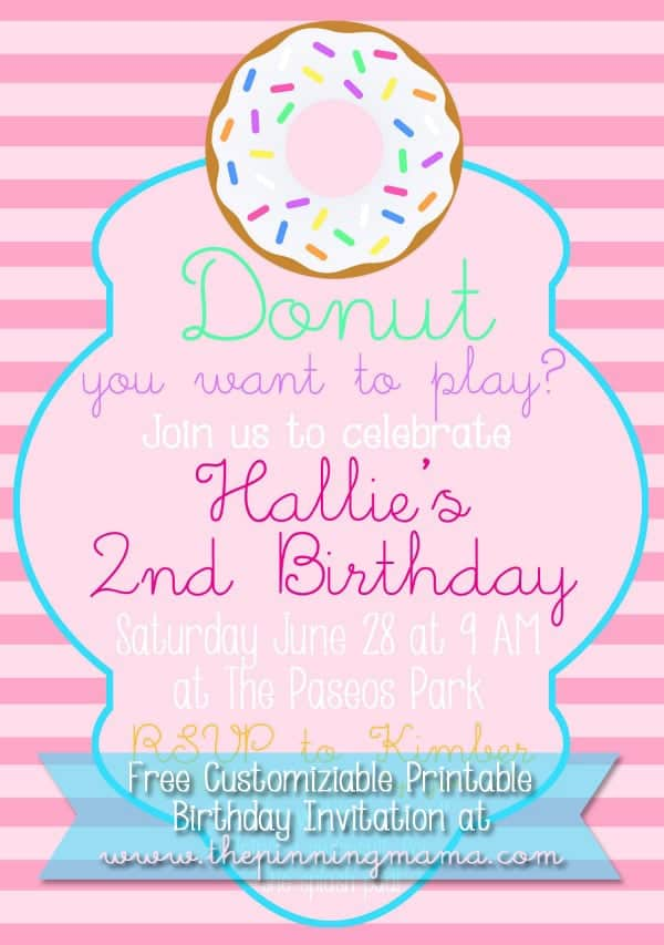 Customizable Donut Birthday Party Invitation - Free Download at www.thepinningmama.com