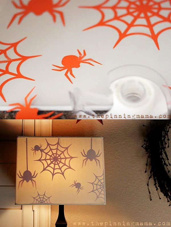 This is GENIUS! Use cut outs to make spooky Halloween Spiders appear when the lamp turns on. See how easy it is do - click here!