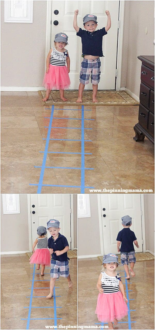 An easy addition to a Train party. Just use painters tape to add train tracks from your front door into the party. Click here to see lots more train party ideas!