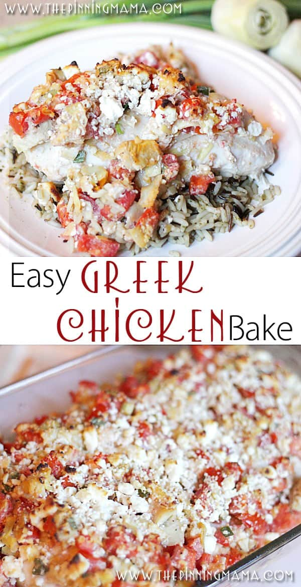 So easy to make + delicious and full of flavor! This Greek Chicken bake recipe is a keeper!