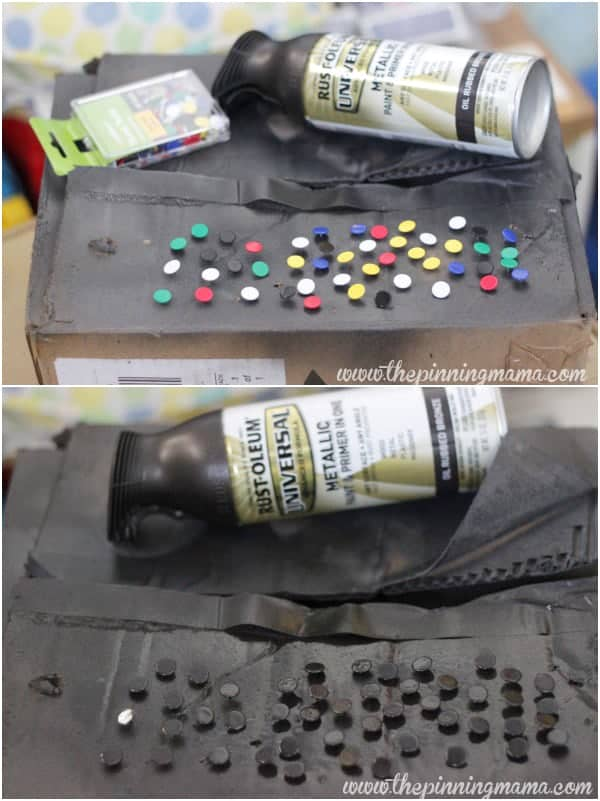 Spray paint push pins to get the nail head look at a fraction of the cost!