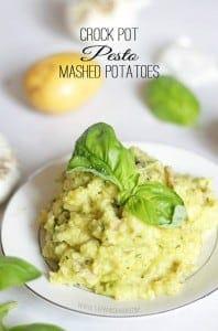 Pesto Mashed Potatoes crock pot recipe. Making for the pot luck! recipe via thepinningmama.com