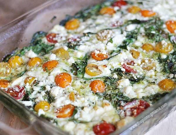 Spinach Pesto Feta Egg White Casserole- Delicious! via thepinningmama.com