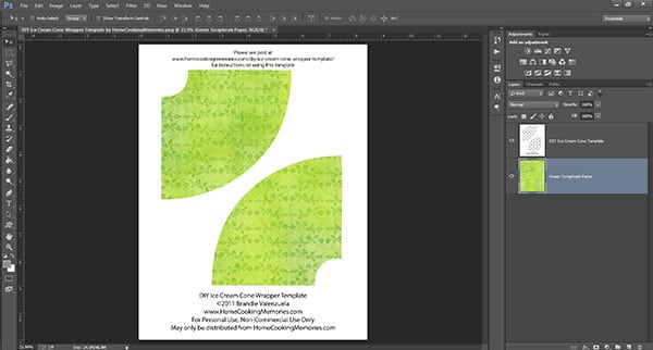 Free printable ice cream cone template for Photoshop Elements