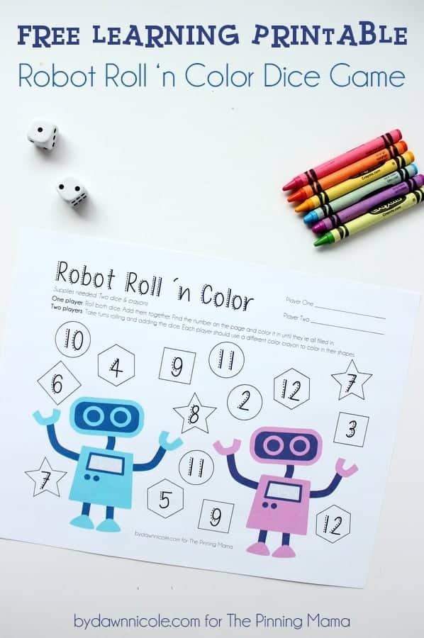 Robot Dice Roll Printable