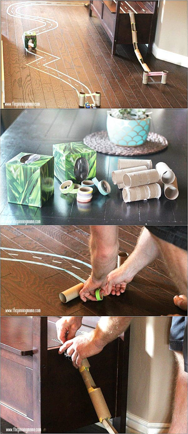 Great craft for kids! Make a race track with just washi tape and card board tubes. So smart!