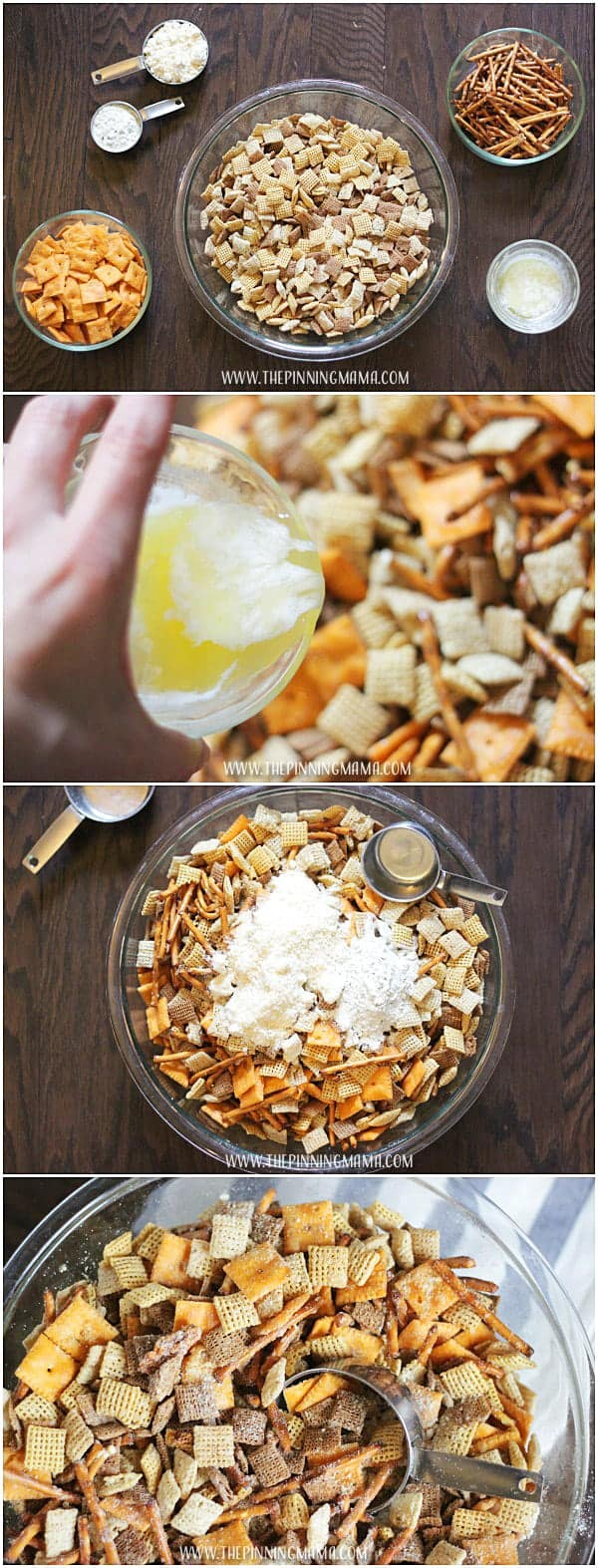 Cheesy Ranch Chex Mix- Only 6 ingredients.  Such an easy snack to make for Christmas parties and I Love everything ranch flavored!