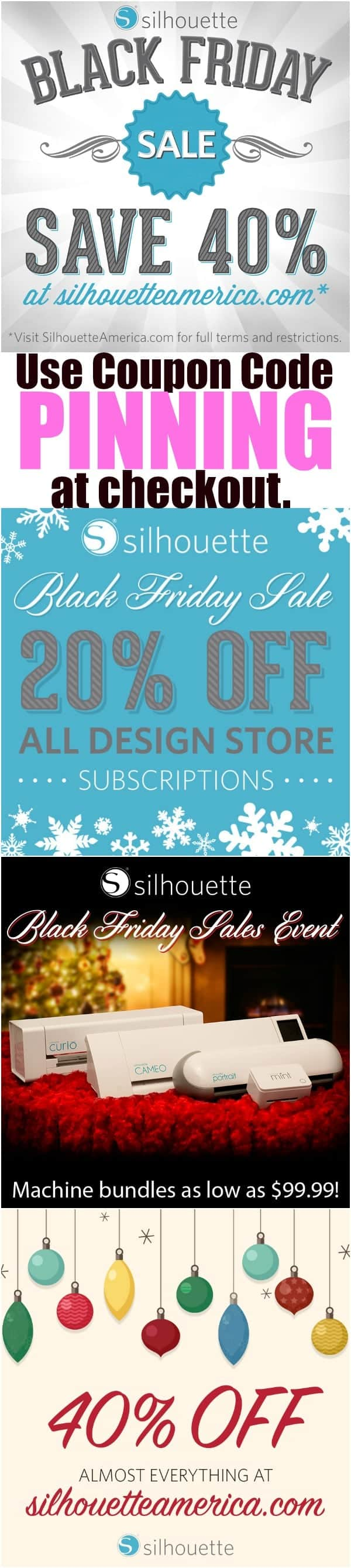 Get the BIGGEST discounts of the year! Silhouette Black Friday Sale 2015-- Use Silhouette Coupon code PINNING at check out. Great details on what you would want to buy!