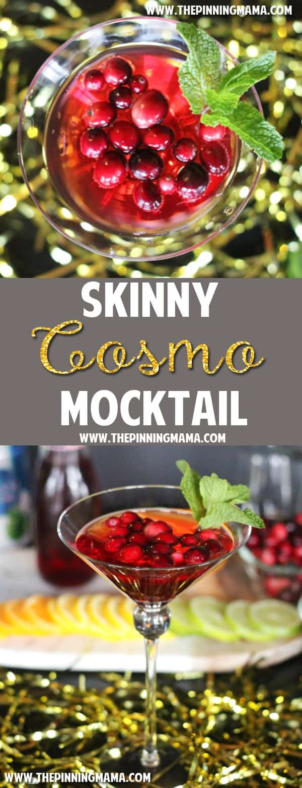 Skinny Virgin Cosmo recipe- A lightened up non-alcoholic version of the classic cosmopolitan cocktail.