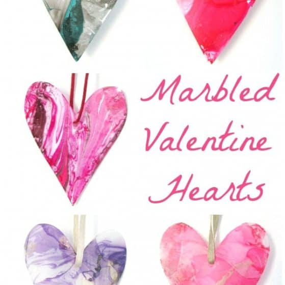 marbled hearts made from plastic tubs