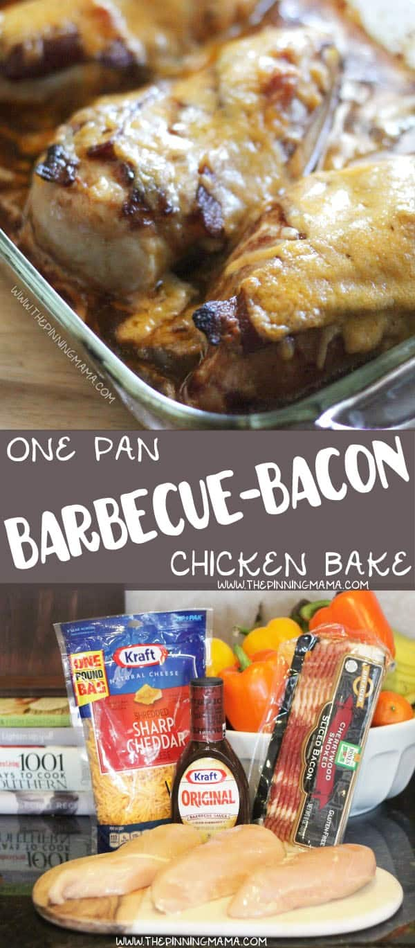 EASY BARBECUE BACON CHICKEN BAKE Recipe - Easy + Delicious = My favorite kind of recipe. One pan and 4 ingredients. It doesn't get much better than this for an easy weeknight dinner that the whole family will love!