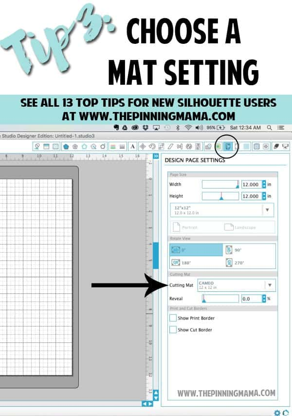 Tip 3: How to choose your mat setting in the Silhouette Studio Software. Read this tip and all 13 MUST KNOW Tips for New Silhouette Users here. This is an AMAZING beginner resource!