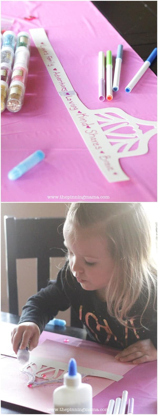 DIY Princess Crowns for Princess Party: Write what makes princess beautiful on the inside on the inside of the crown and then decorate the outside. Free printable crown +Silhouette cut file included!